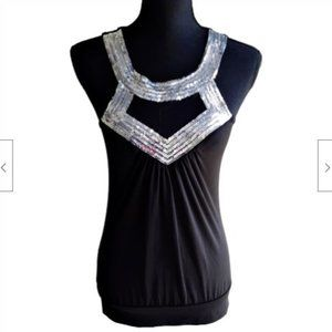 Body Central Womens Medium Black & Silver Sequin